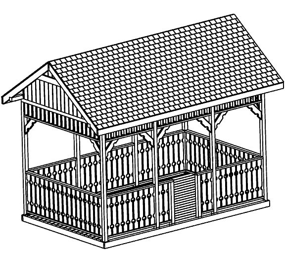 SAMPLE Gazebo Plans 10, 10x16 ft Square Gazebo, IMMEDIATE DOWNLOAD