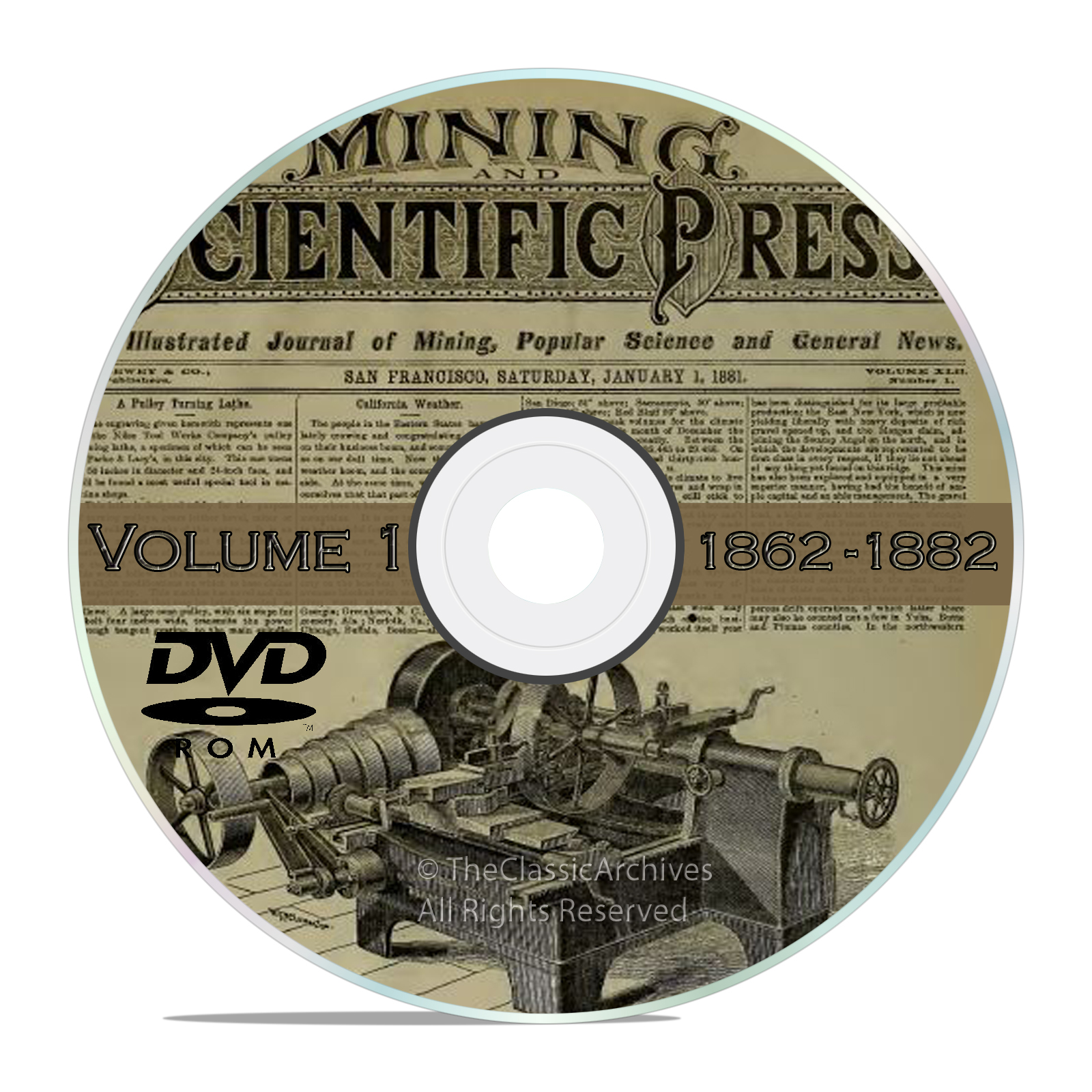 Vintage Mining and Scientific Press, 1862 - 1882, 1000 Back Issues Vol1 DVD