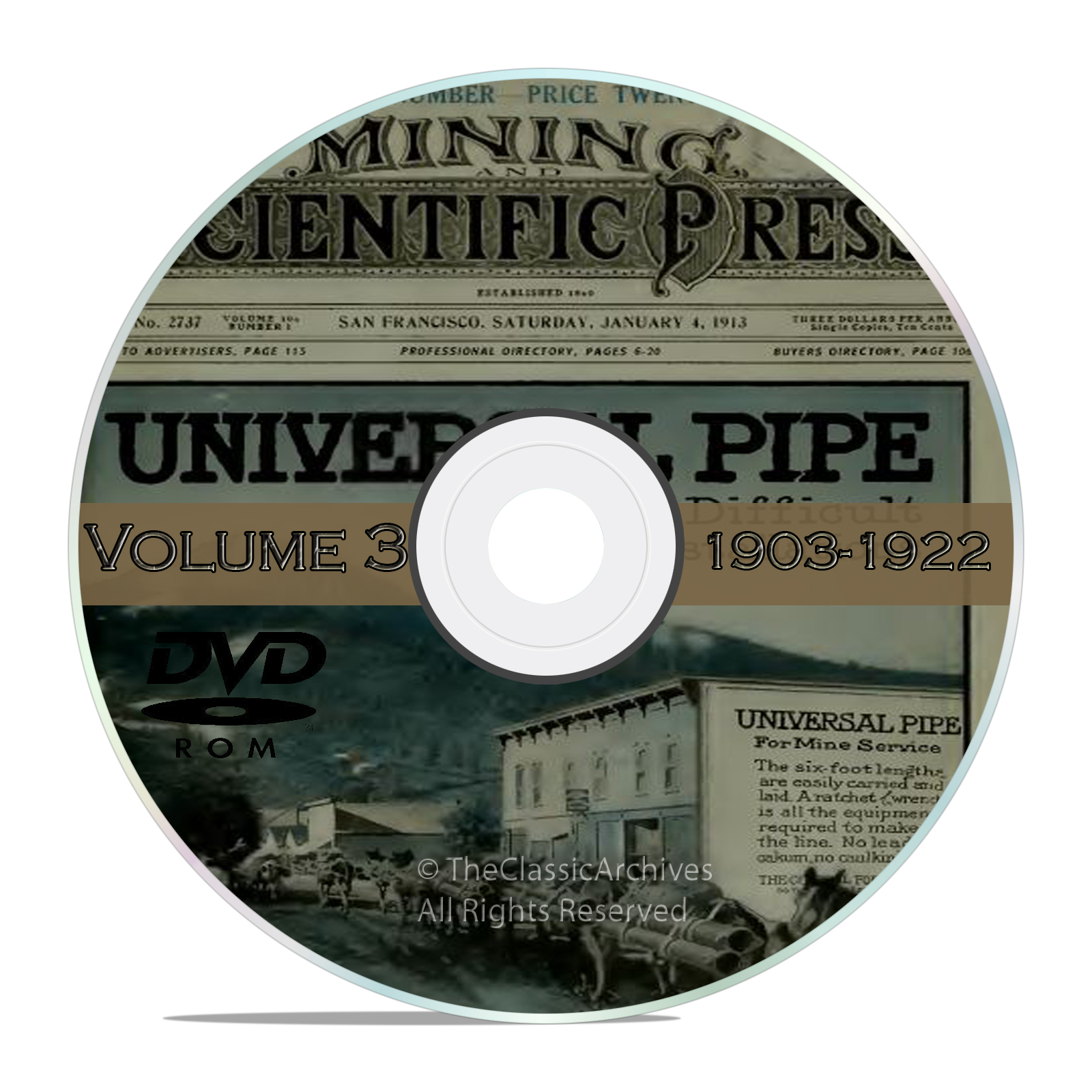 Vintage Mining and Scientific Press, 1903 - 1922, 1000 Back Issues Vol3 DVD