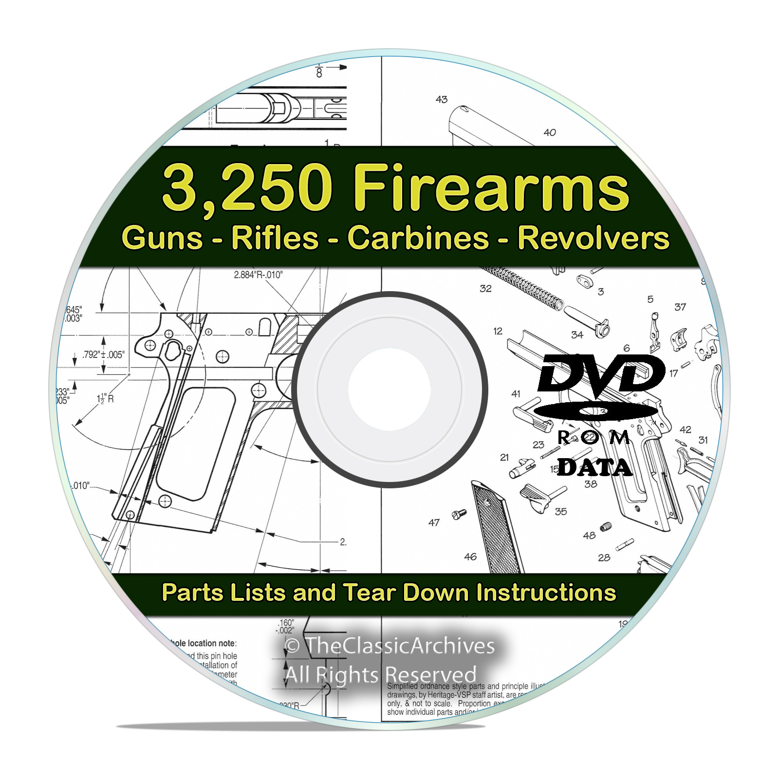 3250 Gun, Rifle, Shotgun, Firearm Users Manuals on DVD - Snail Mail