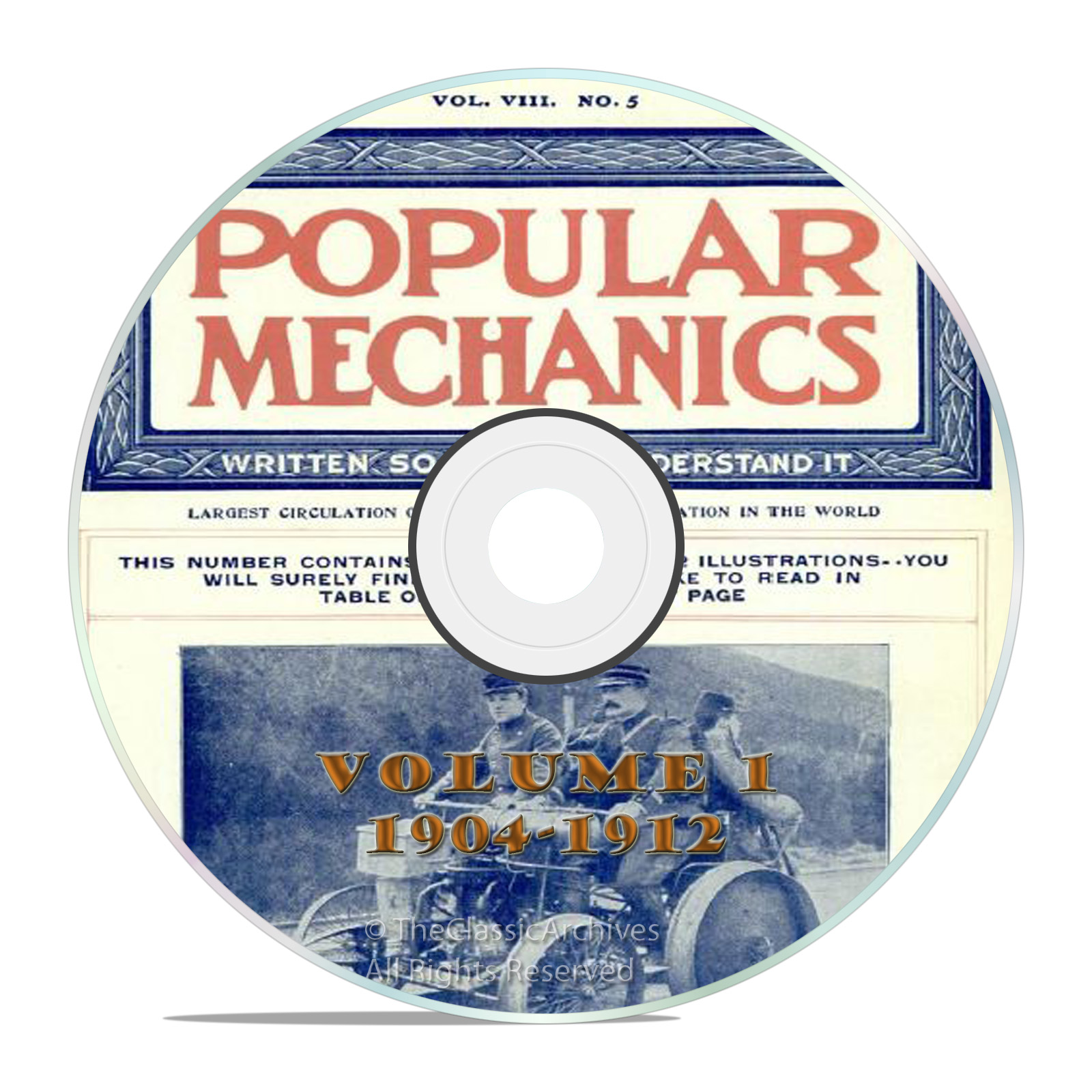 Vintage Popular Mechanics Magazine, Volume 1 DVD, 1904-1912, 76 issues