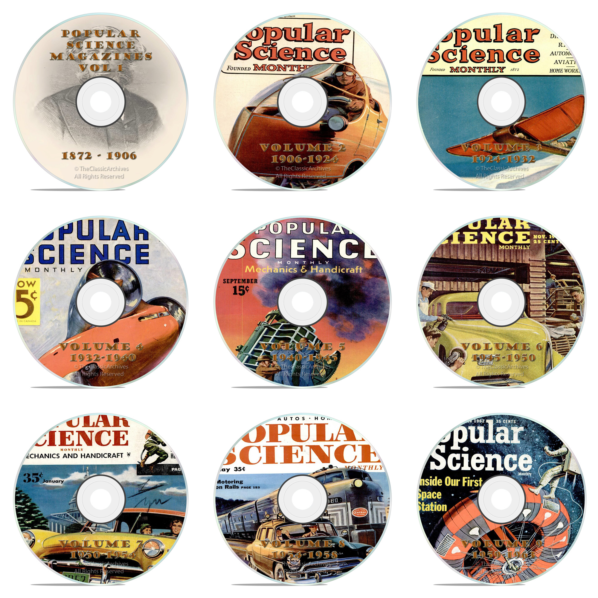 Vintage Popular Science Magazine, 9 DVD Complete Set, 1872-1963, 1086 issue