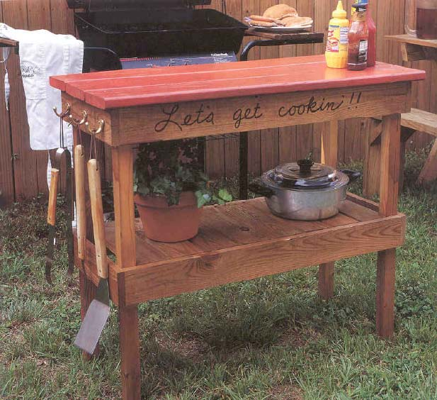 Barbecue Table, Outdoor Wood Plans, IMMEDIATE DOWNLOAD