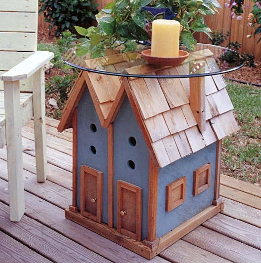 Birdhouse Table, Outdoor Wood Plans, IMMEDIATE DOWNLOAD