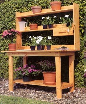 Download a free plan for this potting bench from vegetable for Vegetable garden table plans