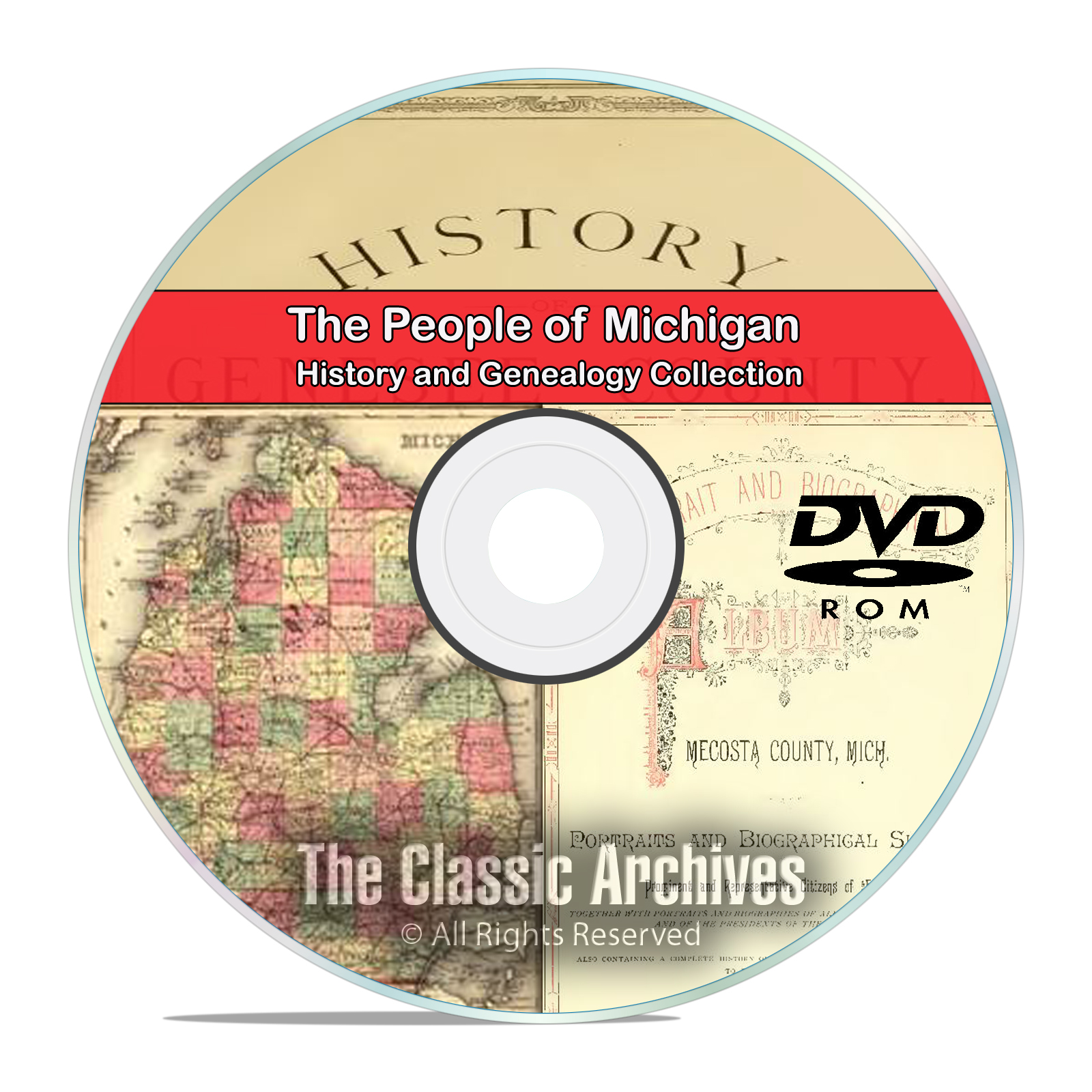 Michigan MI, People, Cities, Towns, History and Genealogy 31 Books DVD