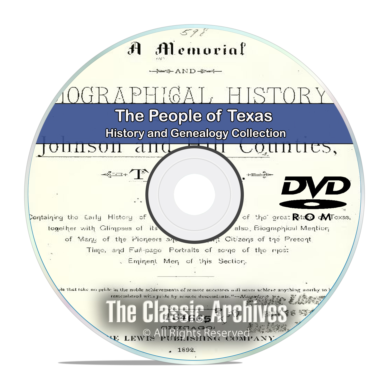 Texas TX, People Cities Towns History and Genealogy 50 Rare Books DVD