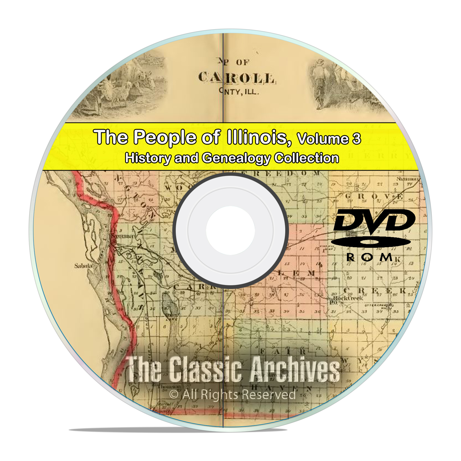 Illinois IL Vol 3, People Cities Towns, History & Genealogy 126 Books DVD