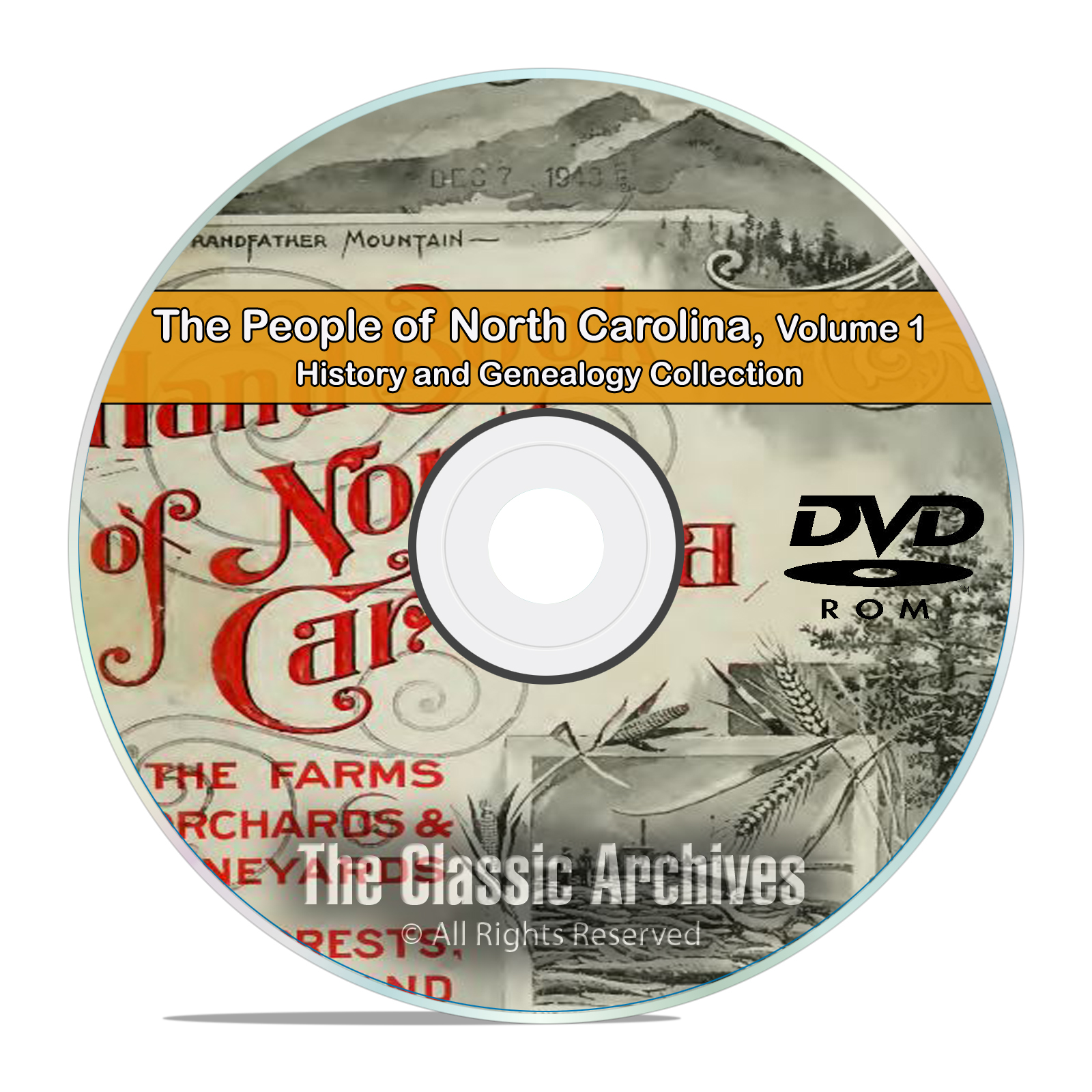 North Carolina NC Vol1 People Cities History Genealogy 121 Books DVD