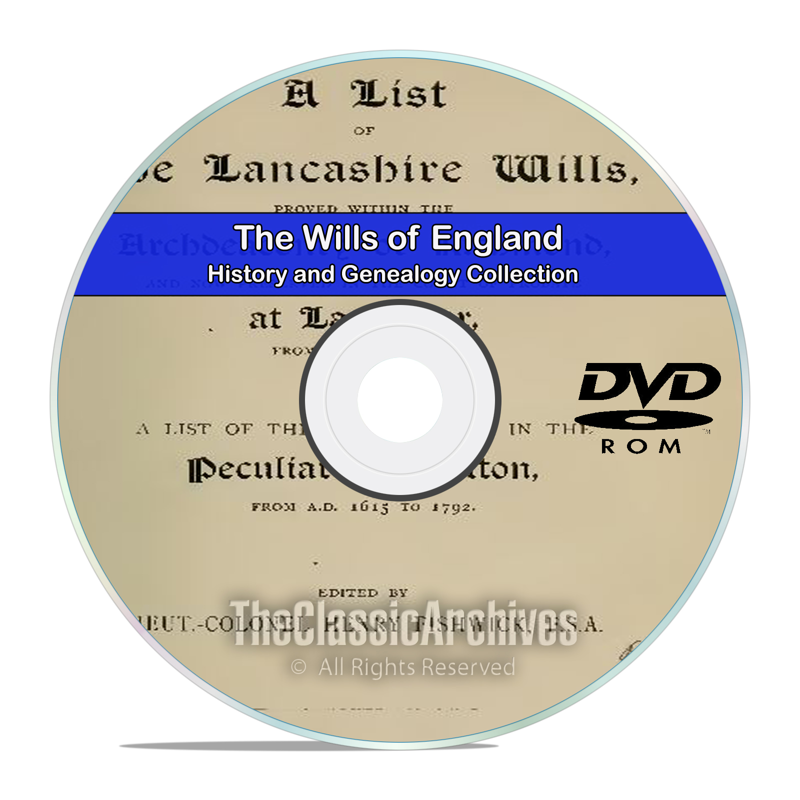 The Wills of England, English History and Genealogy, 100 Titles on DVD