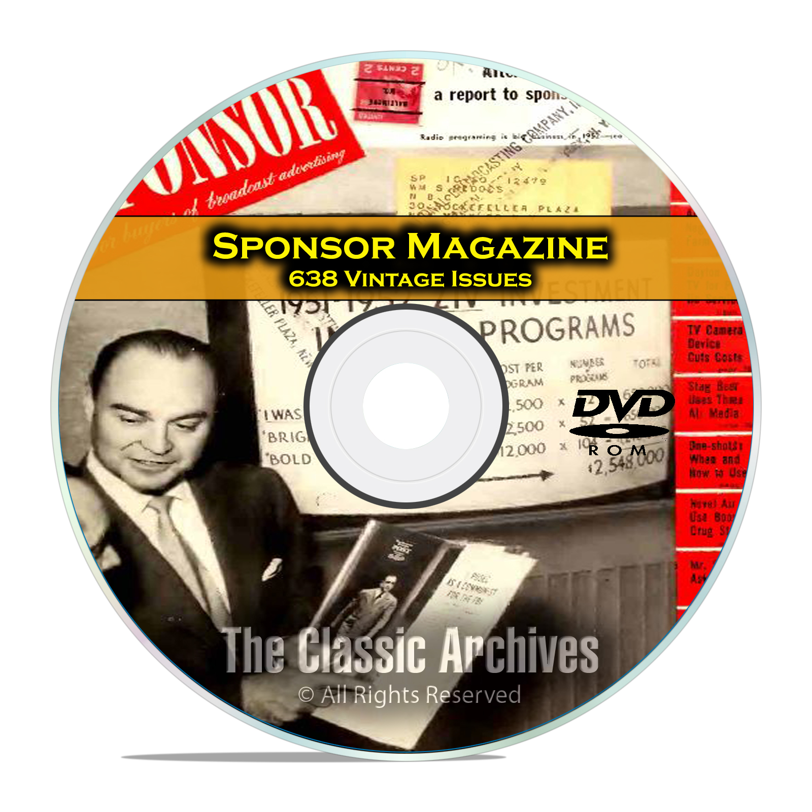 Sponsor Magazine, 638 Vintage Issues, Radio and Television Advertising, DVD - Click Image to Close