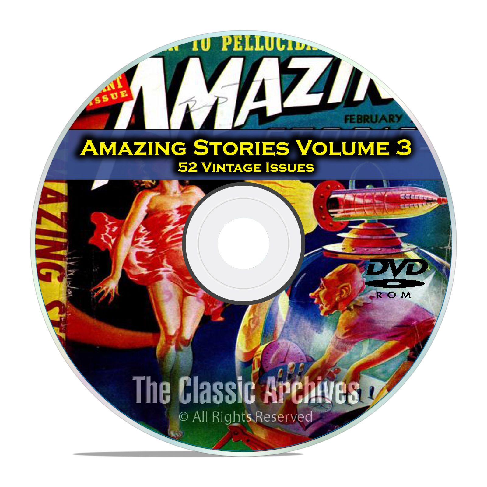 Amazing Stories Vol 3, 52 Vintage Pulp Magazine Fiction, Hugo Gernsbeck DVD