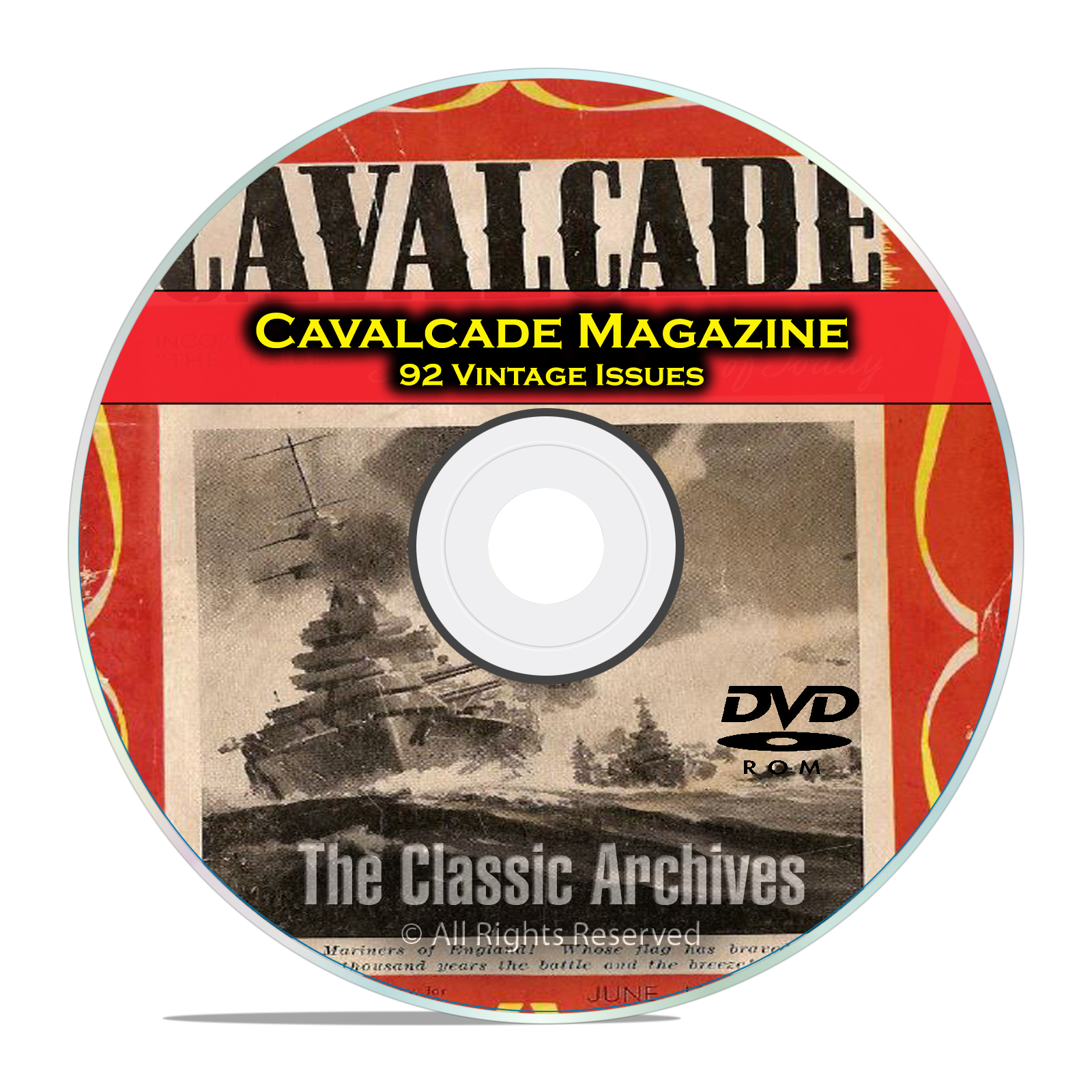 Cavalcade Magazine, 92 Issues, War News, Fiction, Comic Girls Digest DVD