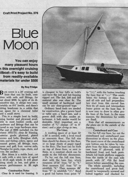 Blue Moon Sailboat Plans