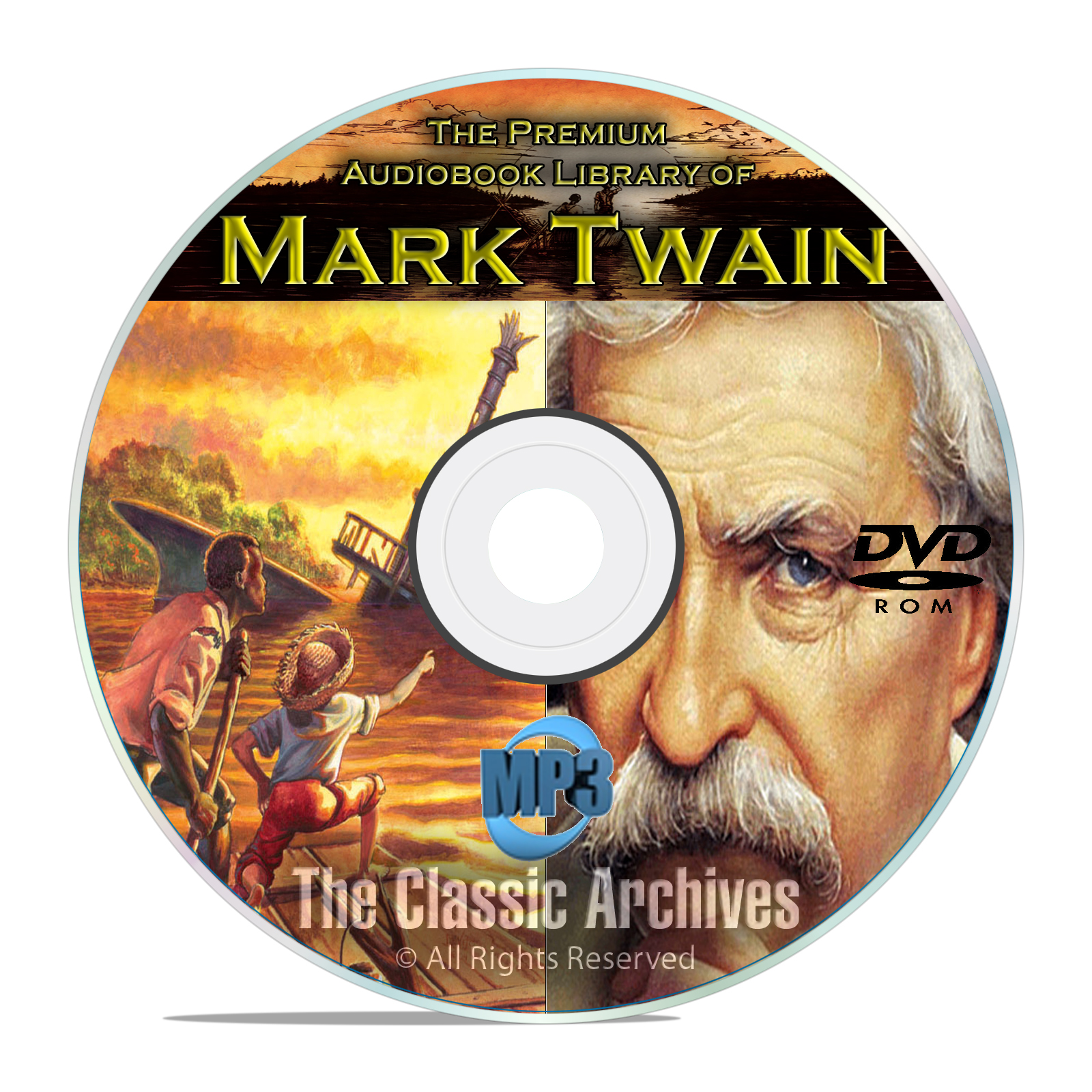 Mark Twain - 100 Audiobooks Collection, Classic Literature, Huck Finn DVD - Click Image to Close
