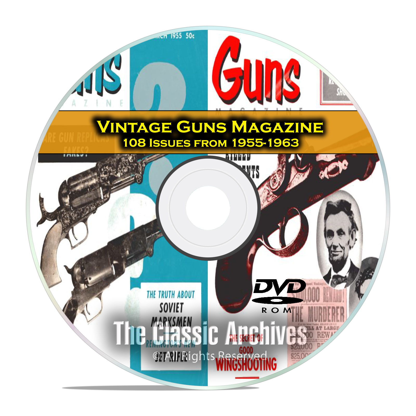 Guns Magazine, 108 Vintage Issues, 1955-1963, Reloading, Hunting Mag DVD