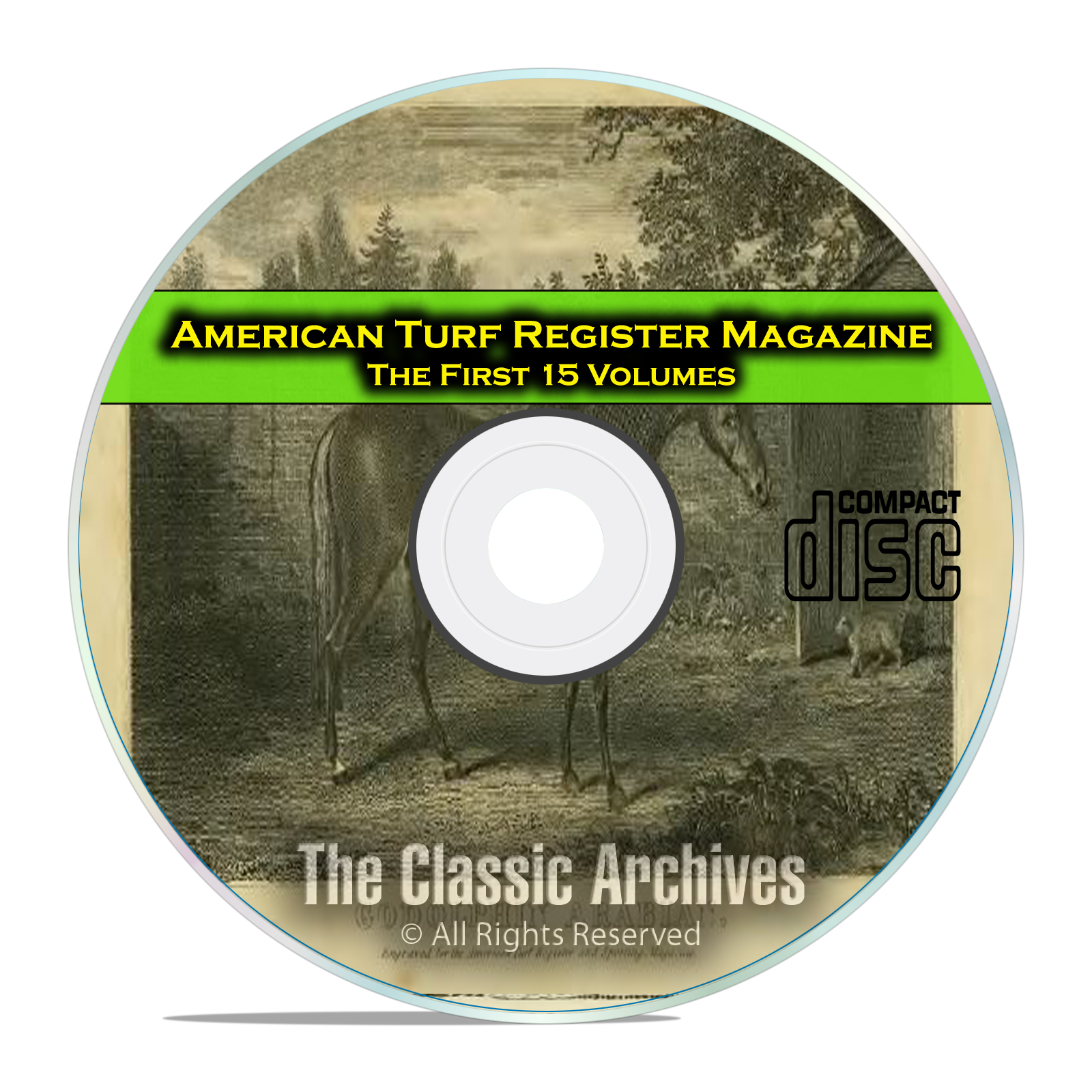 American Turf Register and Sporting Magazine, 15 Volumes, PDF CD