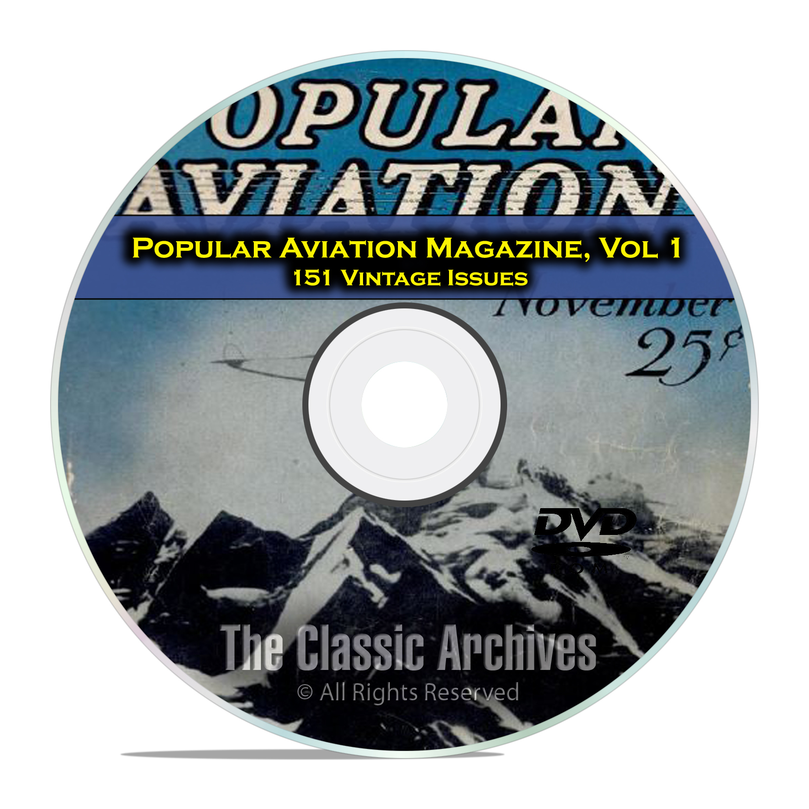 Popular Aviation Magazine, Vol 1, 151 Vintage Flight Issues, 1927-1944, DVD
