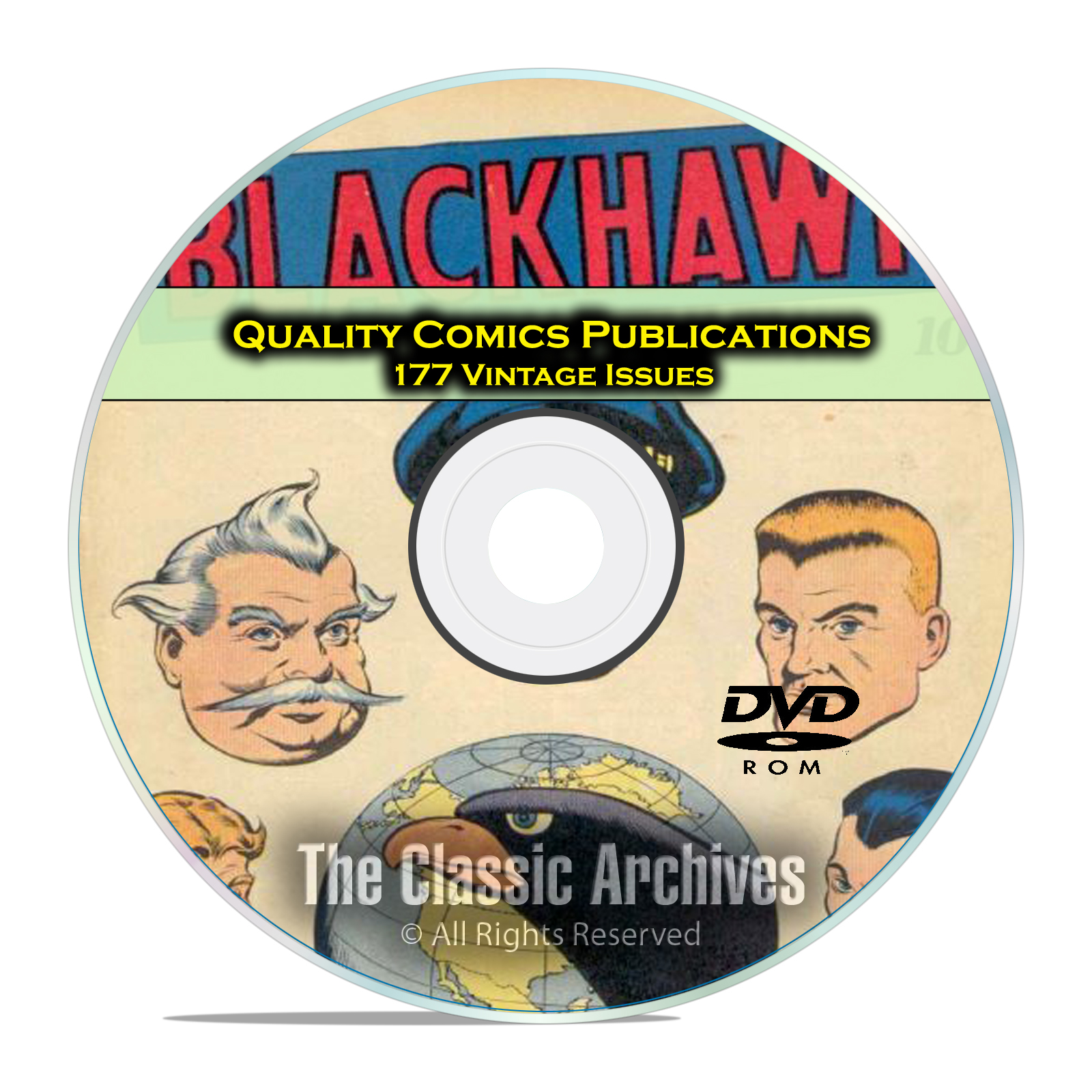 Quality Comics, Blackhawk, Warfront, Gabby, 177 Golden Age Comics DVD