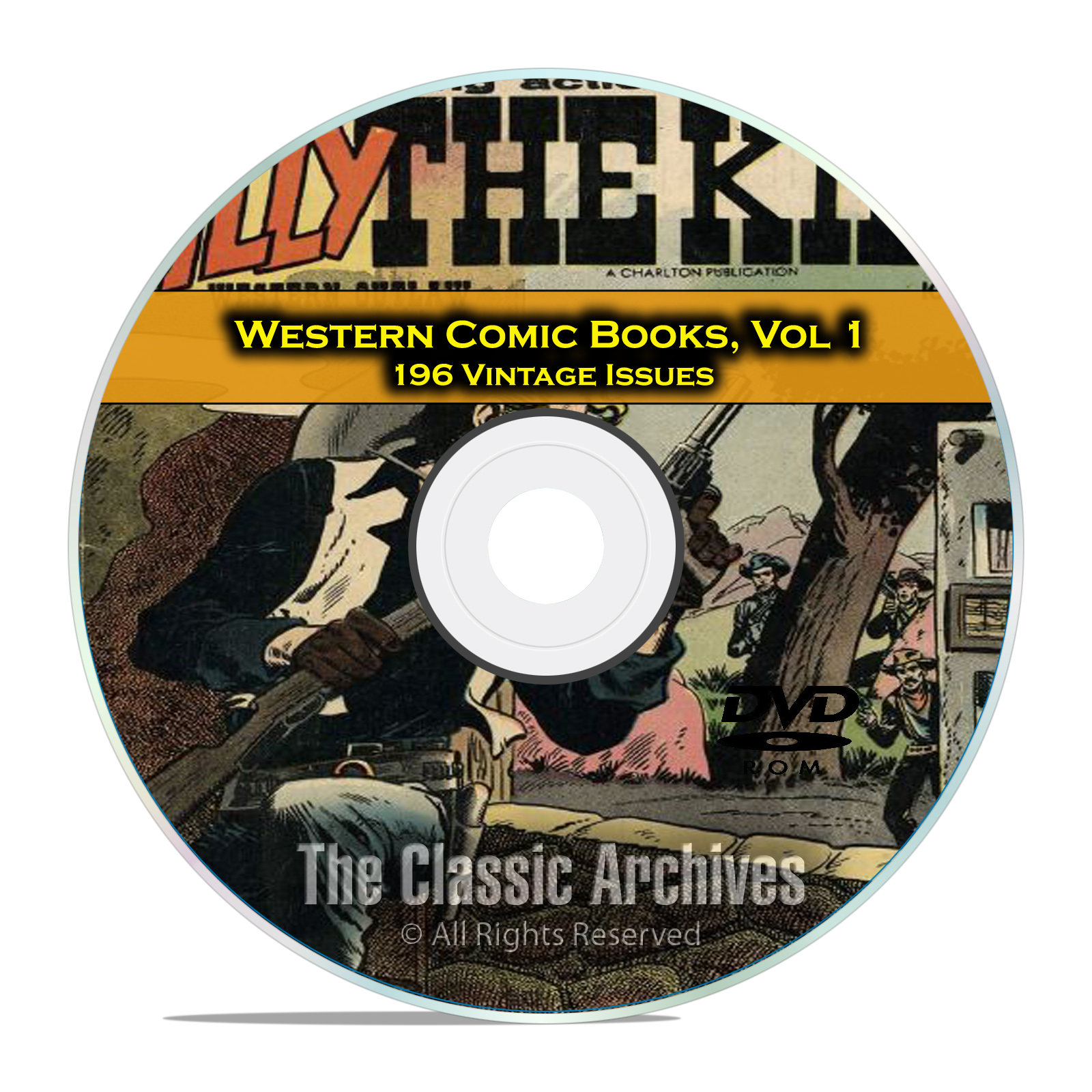 Western Comic Books, Vol 1, Billy The Kid, Cowboy Western, Golden Age DVD