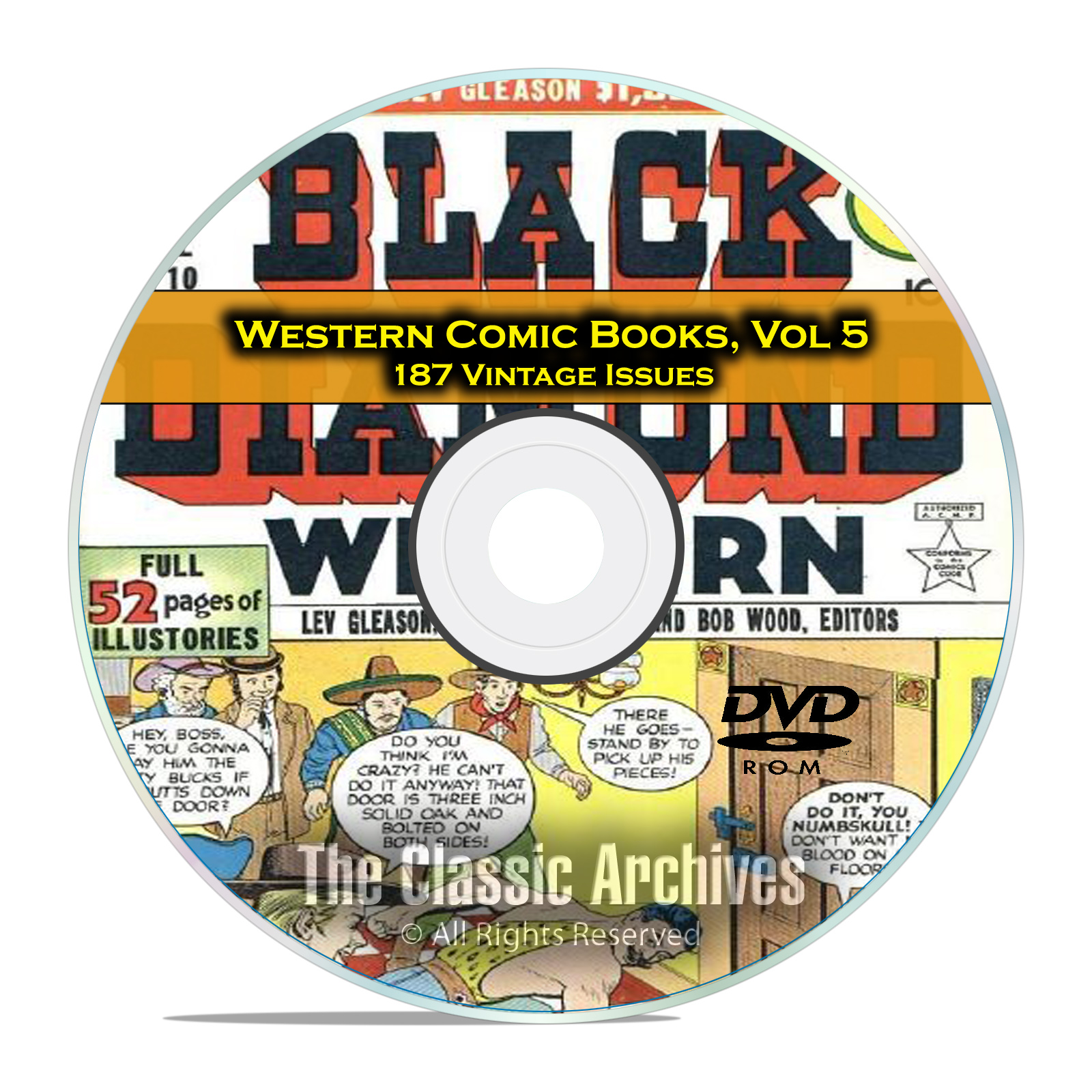 Western Comic Books, Vol 5, Black Diamond, Gunsmoke Dead Eye Golden Age DVD