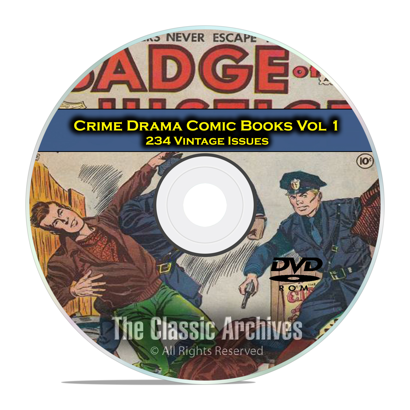 Crime Drama, Suspense, Vol 1, Badge of Justice, Cop, Golden Age Comics DVD