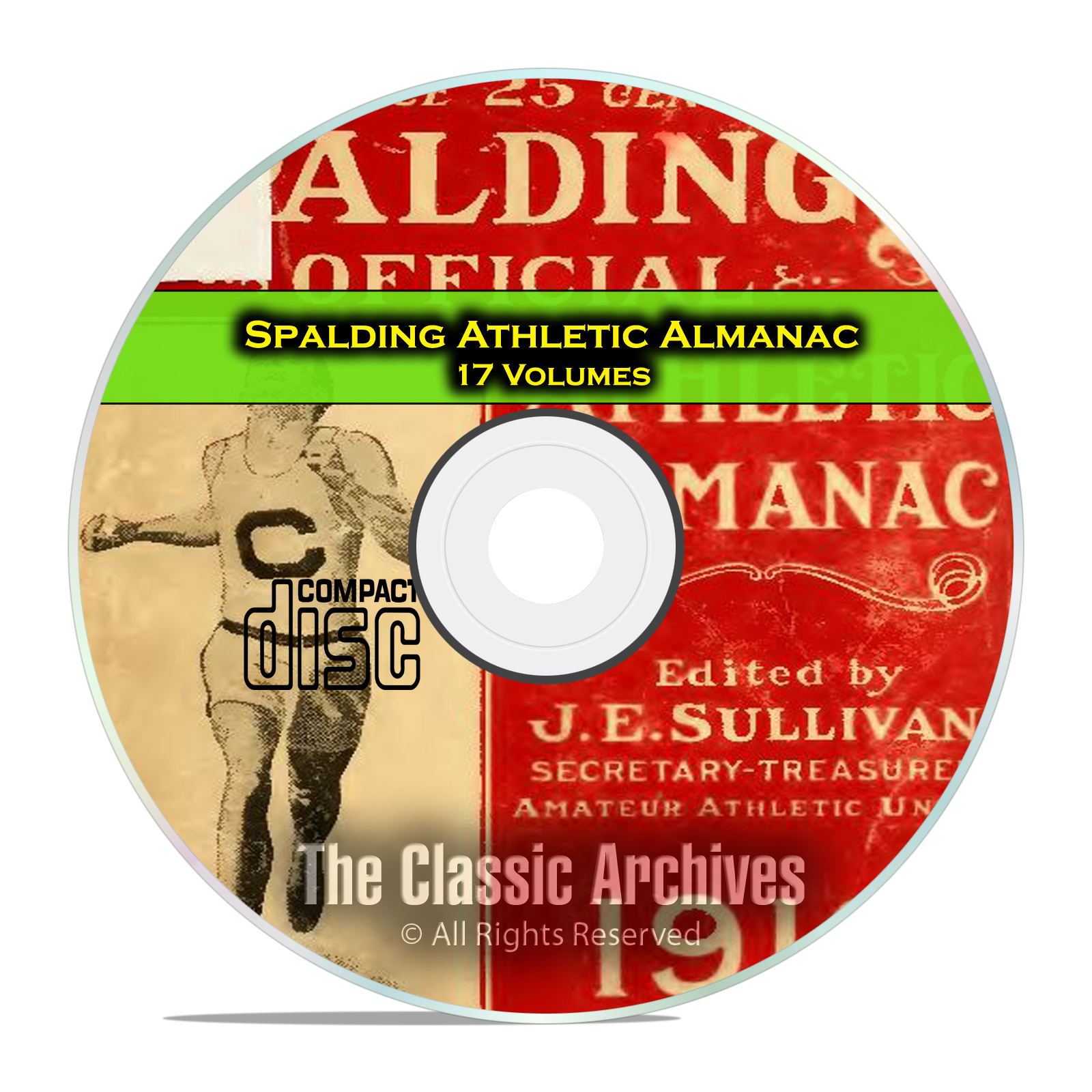 Spalding's Athletic Almanac, 17 Volumes, American Sports, 1902-1921 CD