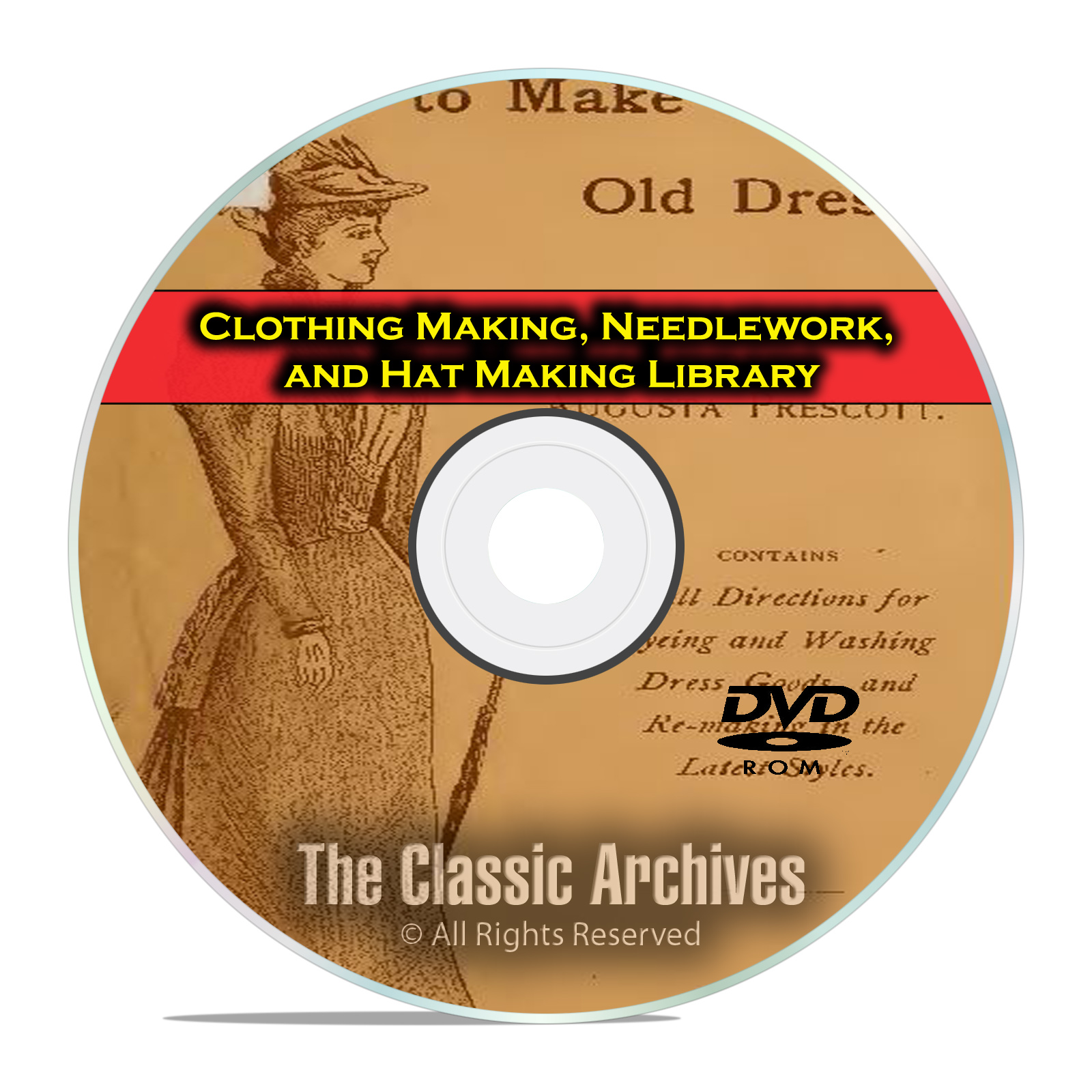 Clothing Making, Needlework, Hat Making Library, 215 Vintage Books DVD