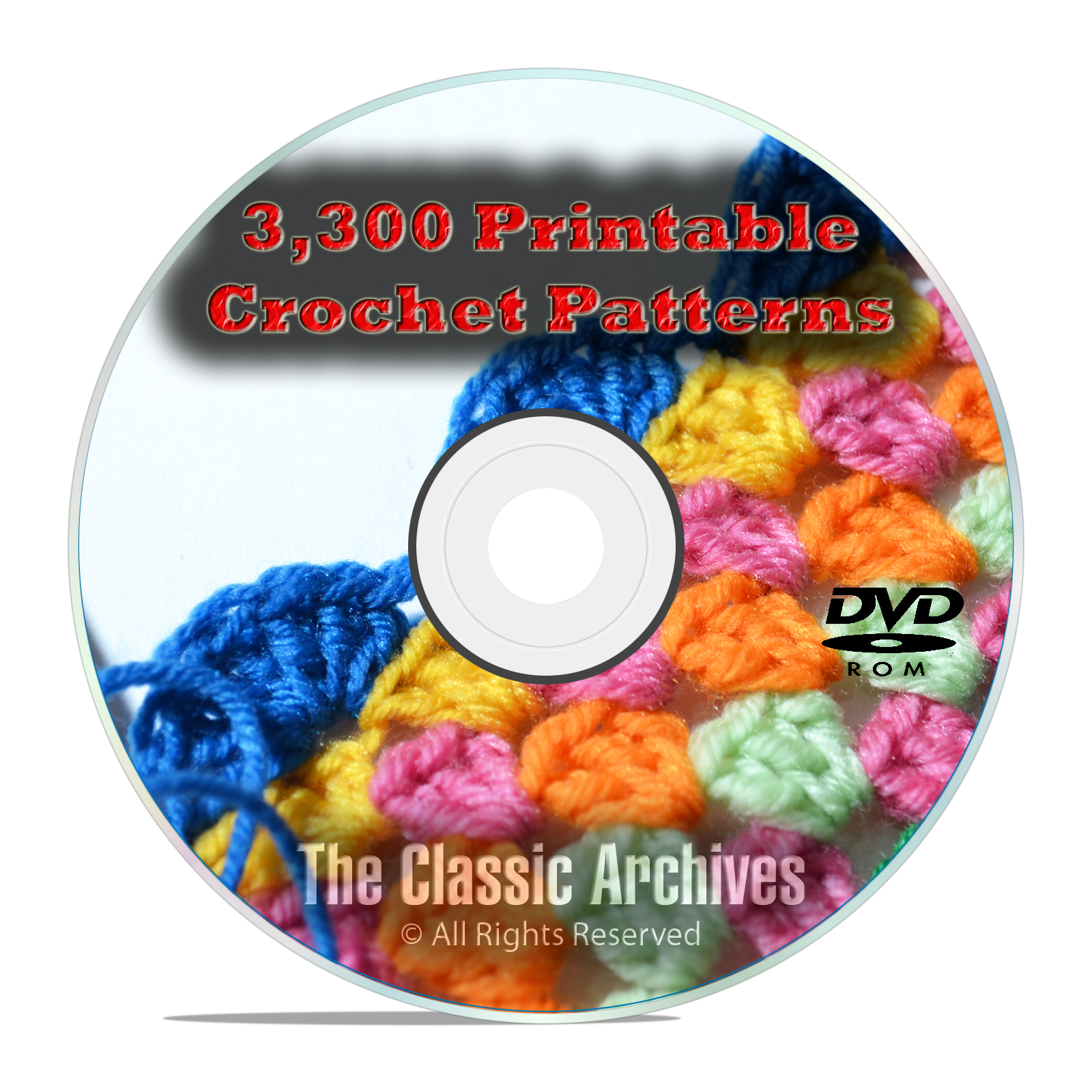 Learn to Crochet, 3300 Printable Crochet Patterns & Guides Books PDF CD DVD