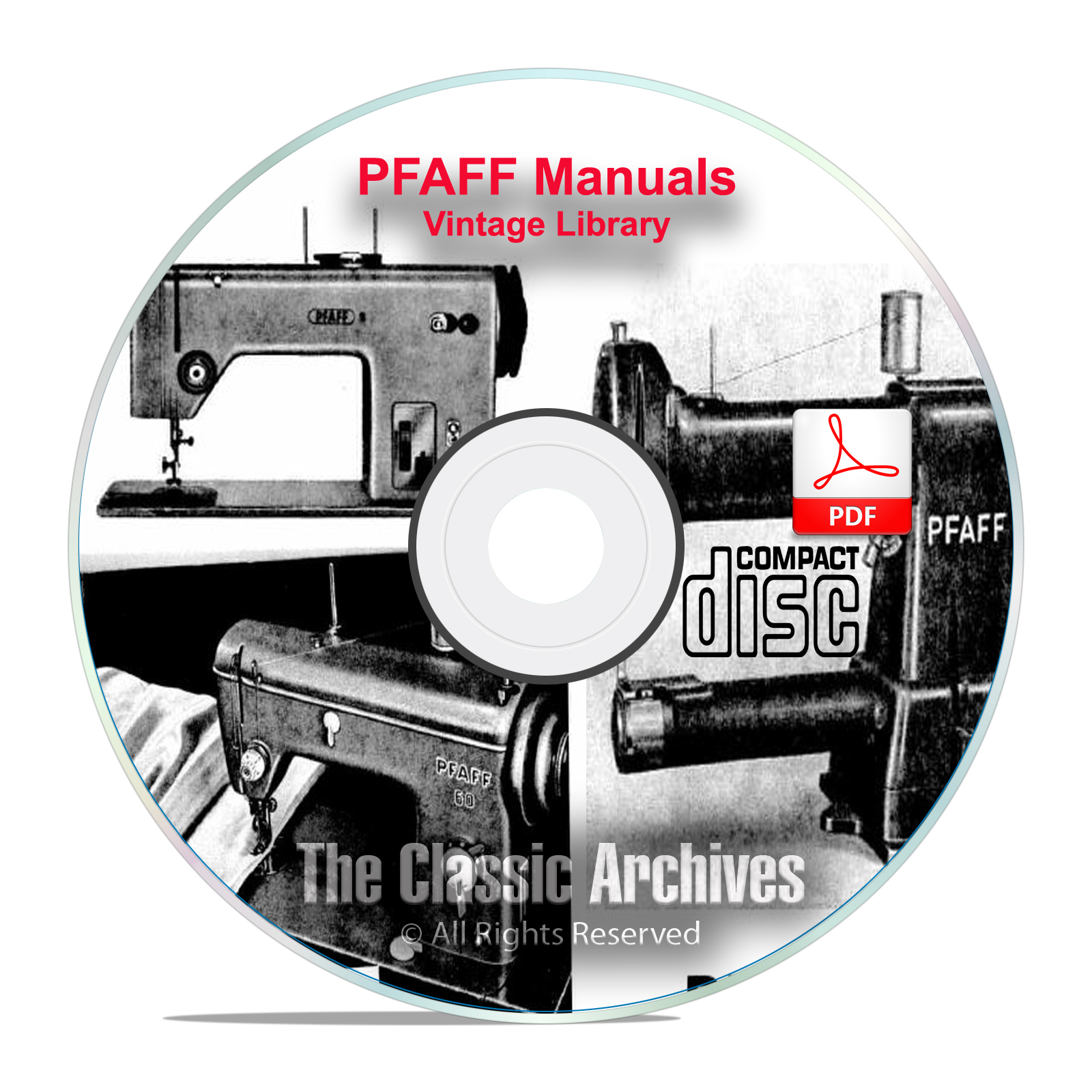 Vintage PFAFF Sewing Machine Instruction Books Service Manuals CD-ROM