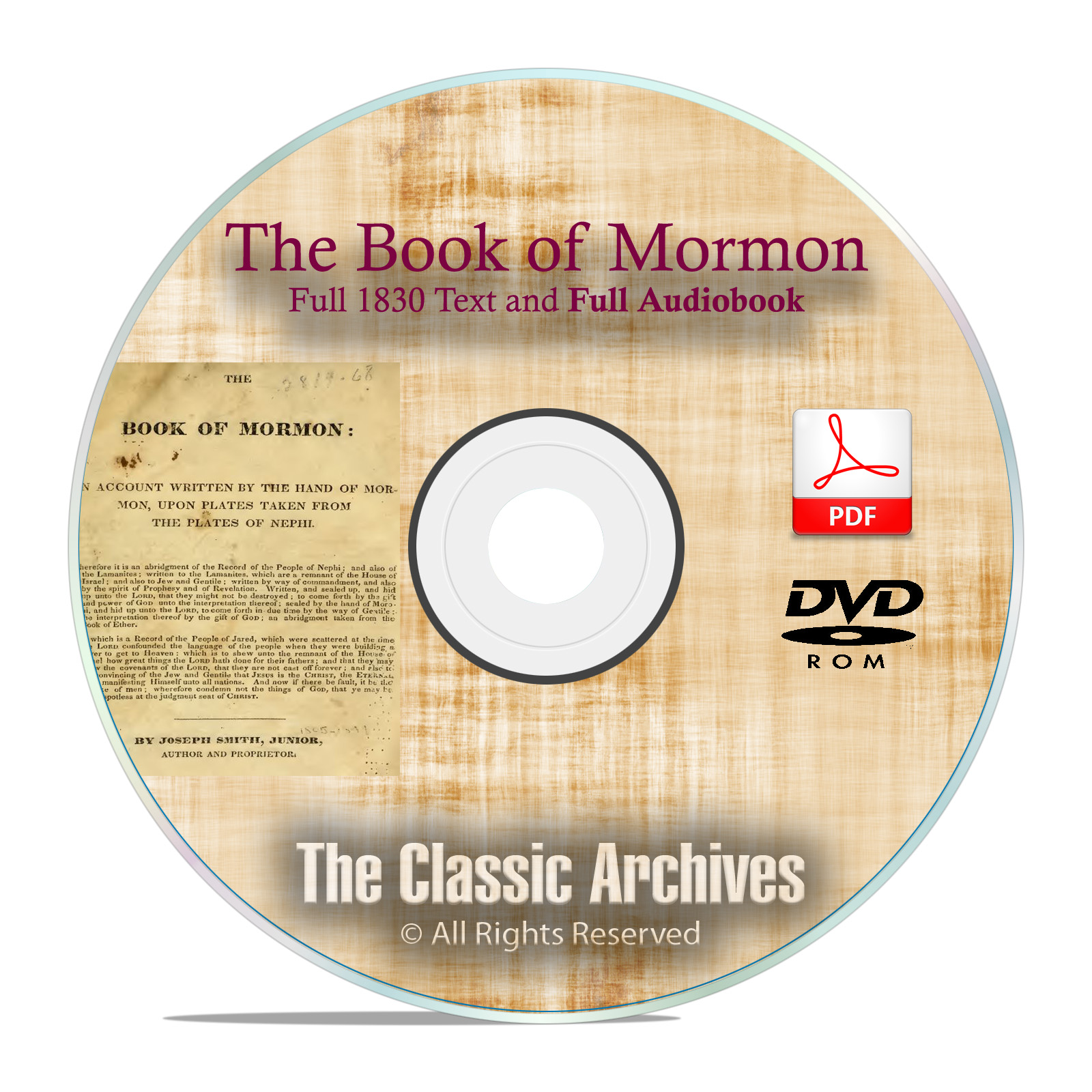 The Book of Mormon, 1830 Edition, Text + Audio Book, by Joseph Smith DVD