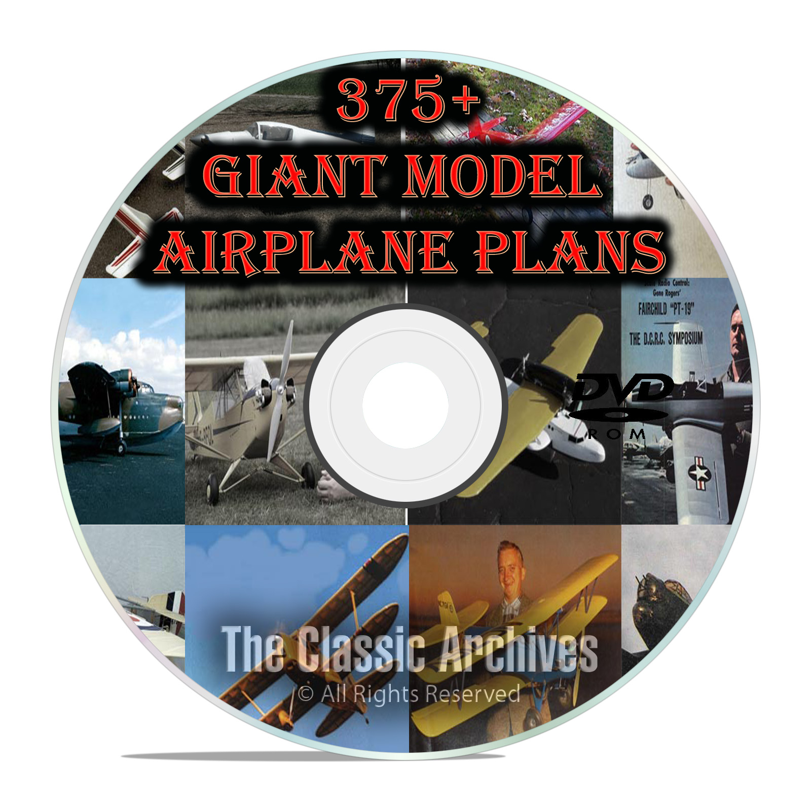 375+ Giant Scale RC Model Airplane Plans, Templates, Bombers Jets+ PDF DVD