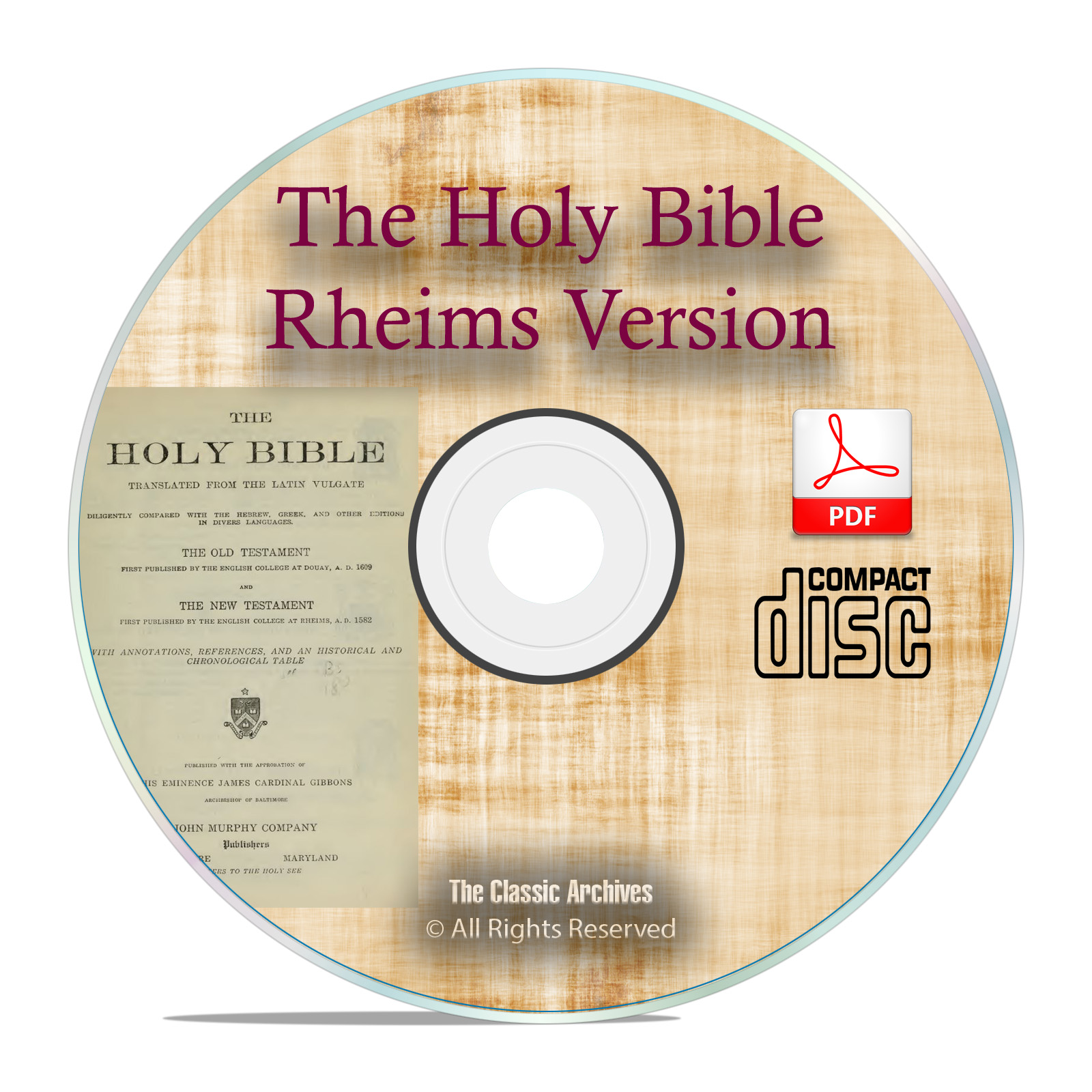DOUAI DOUAY RHEIMS VERSION, CATHOLIC BIBLE With Apocrypha History PDF CD