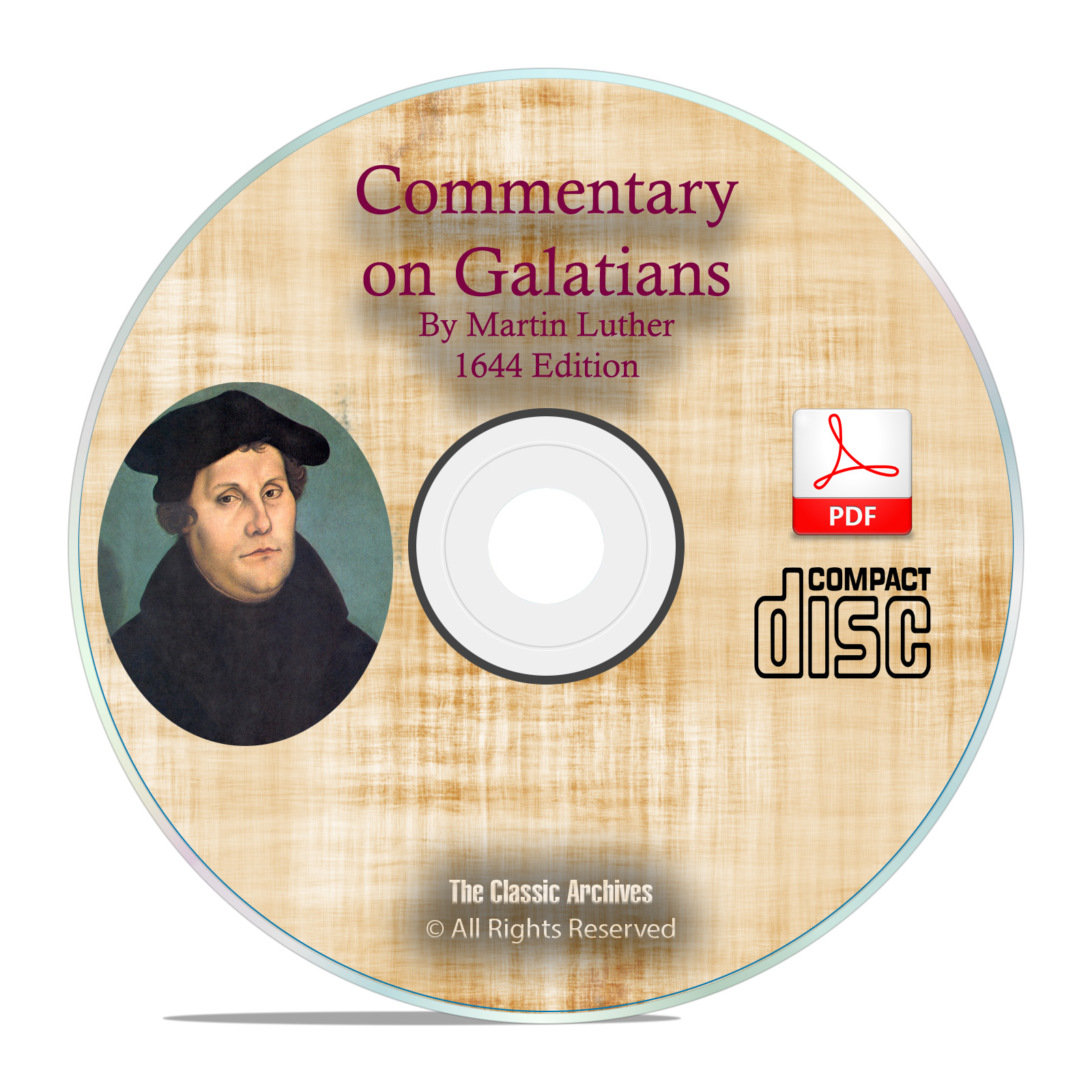1644 Commentary on Galatians, Martin Luther, Vintage Bible Study PDF CD