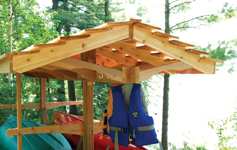 Free canoe boat rack wood plans for Boat storage shed plans