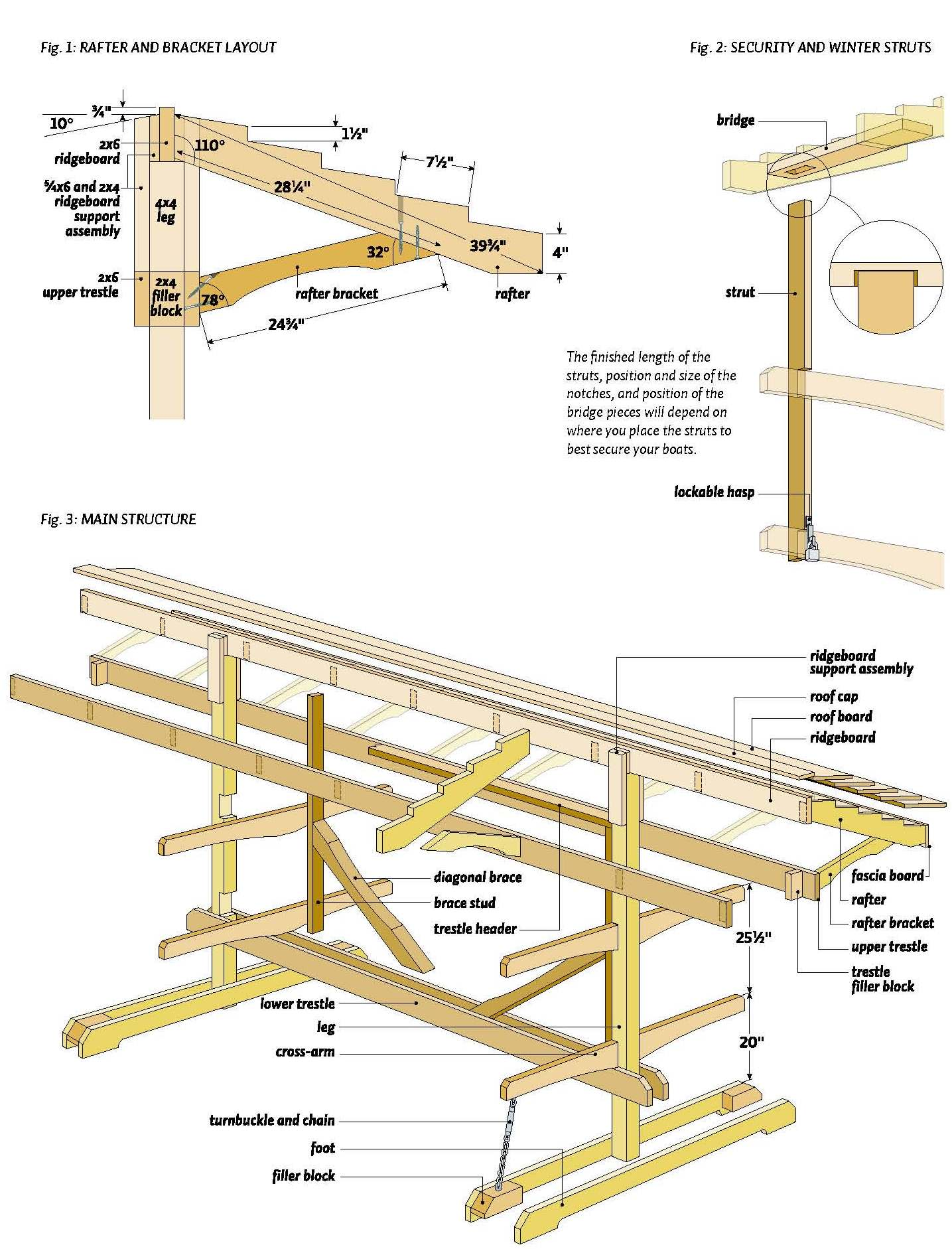 wooden canoe rack plan