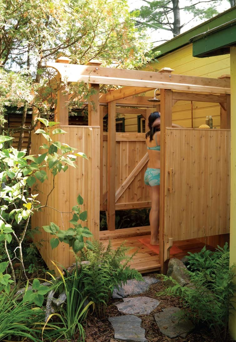 Free outdoor shower wood plans for Diy pool house plans