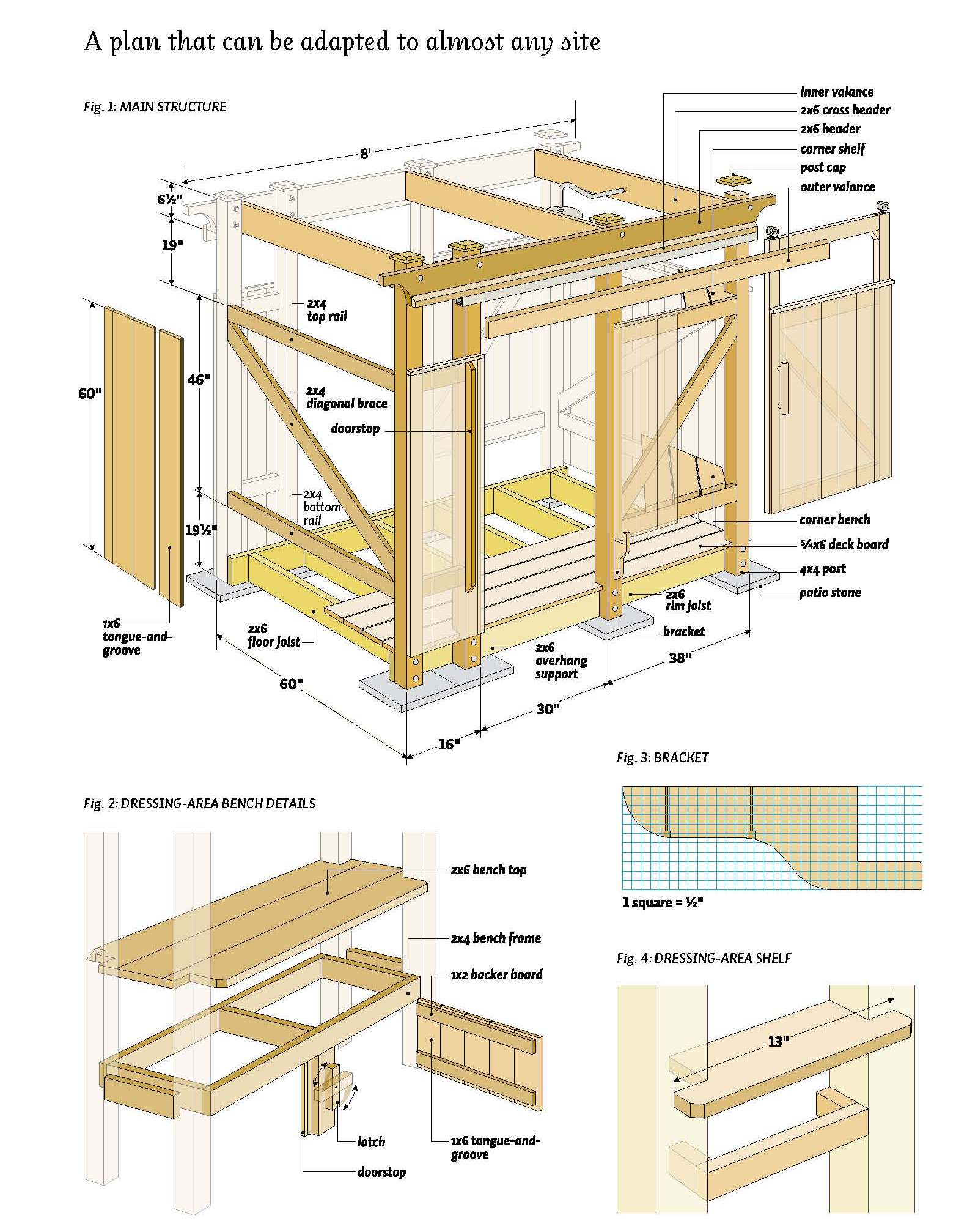 Free outdoor shower wood plans for Wood house design software