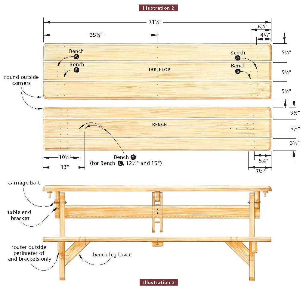 folding picnic table bench plans table plans pdf download