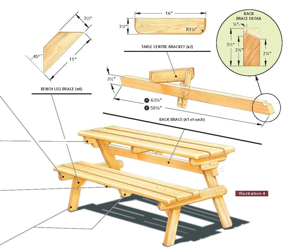 building plan for convertible picnic table