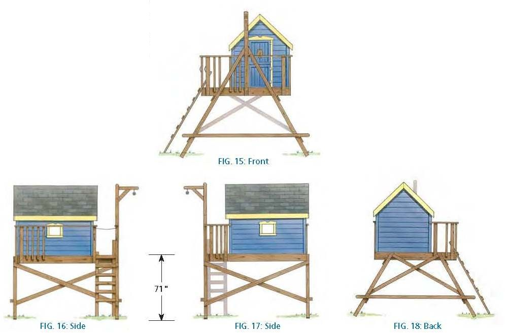 Free freestanding treehouse plans for Free playhouse plans