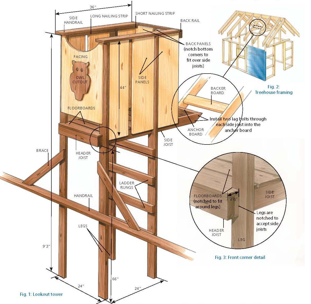 Free tree house look out tower plans for Free treehouse plans