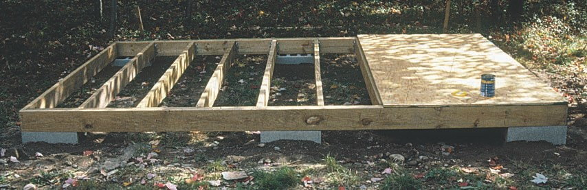 Building a shed floor on blocks