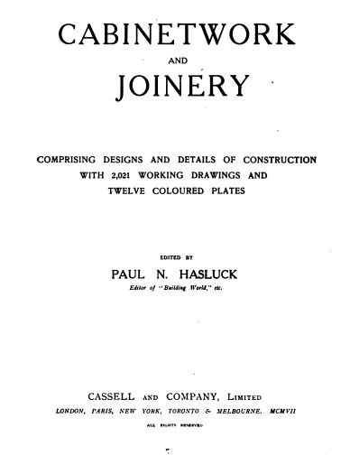 cabinetwork and joinery book download