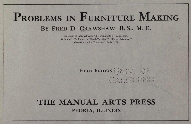 Problems in Furniture Making, 1912, Vintage Woodworking Book Download