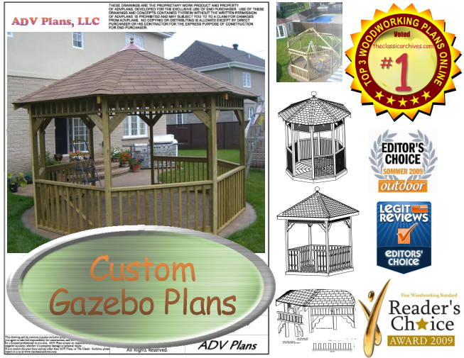ALL OUR GAZEBO PLANS, COMPLETE SET, IMMEDIATE DOWNLOAD