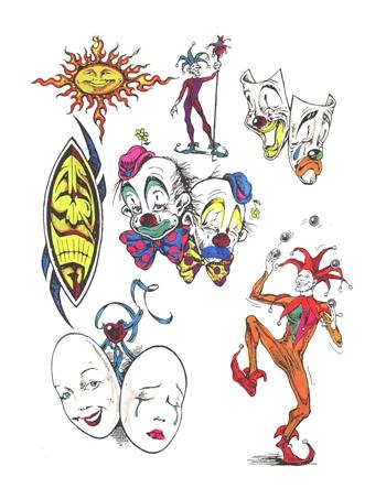 Clown Tattoo Flash