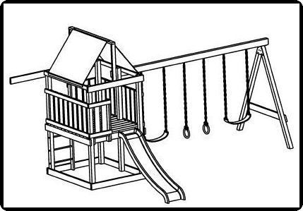 Jungle gym swing sets plans sketch coloring page for Swing set coloring page
