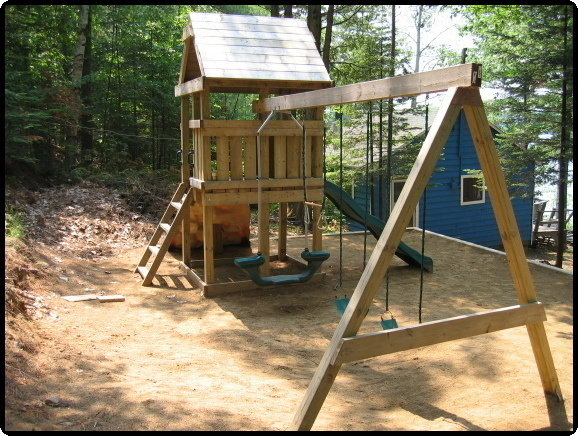 Build a playset fort playhouse swingset wood plans easy for Wooden jungle gym plans