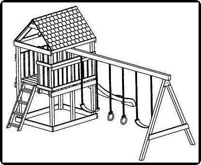 Playhouse Playset Swing Set Plans on 1 5 story house plans with bonus room